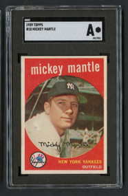1959 Topps Mickey Mantle #10 HOF SGC Authentic- Centered