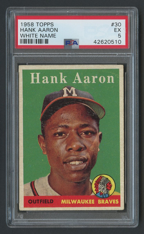 1958 Topps Hank Aaron White #30 HOF PSA 5-Centered