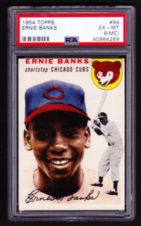 1954 Topps Ernie Banks RC Rookie #94 HOF PSA 6(MC)-High-End