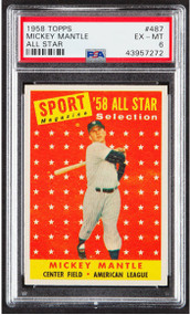 1958 Topps Mickey Mantle All-Star #487 HOF PSA 6-Centered