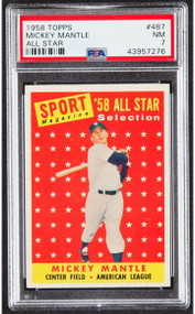 1958 Topps Mickey Mantle #487 HOF PSA 7-Centered & High-End