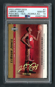 2003 UD Phen. Beg. Gold Lebron James Rookie RC Facsimile Auto #1 /100 PSA 10 Gem Mint