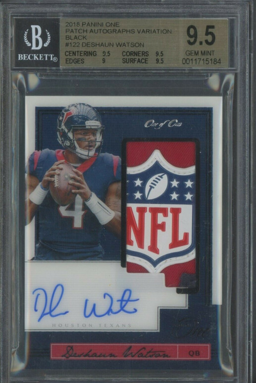 2018 Panini One Deshaun Watson RC Rookie Patch Auto 1/1 NFL Shield BGS 9.5 Gem Mint