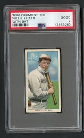 1909 T206 Piedmont Willie Keeler w/bat HOF PSA 2