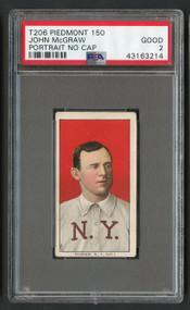 1909 T206 Piedmont 150 John McGraw Portrait HOF No Cap PSA 2