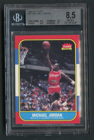 1986 Fleer Michael Jordan Rookie RC #57 HOF BGS 8.5 Near Mint-Centered