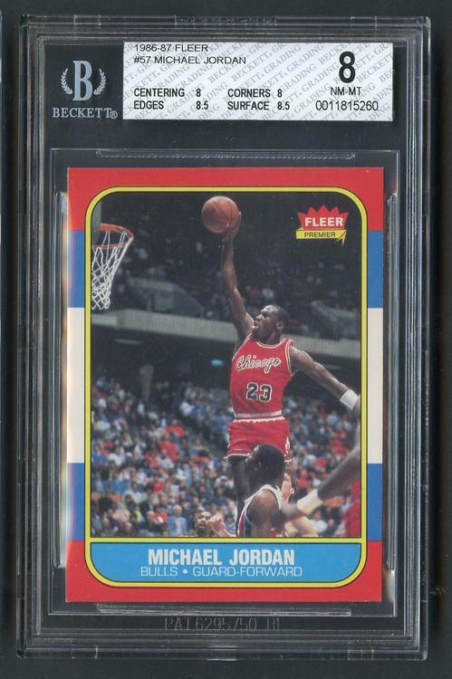 1986 Fleer Michael Jordan Rookie RC #57 HOF- BGS 8 Centered