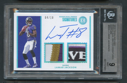 2018 Lamar Jackson Rookie RC 4-Color Patch Auto /10 BGS 9 Mint w/10 Auto