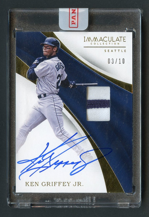 2017 Immaculate Ken Griffey, Jr Auto with 2-Color Patch/10-Uncirculated