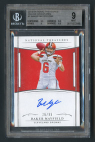2017 National Treasures Baker Mayfield Rookie RC Auto BGS 9 Mint/99
