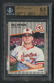 1989 Fleer Bill Ripken FF Error Card BGS 9.5 Gem Mint Plus-2 10's; 2 9.5's