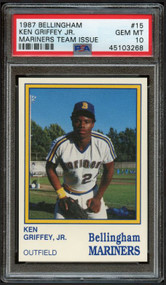 1987 Bellingham Mariners Team Issue Ken Griffey Jr. Rookie RC PSA 10 Gem Mint