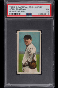 1909-11 T206 John McGraw GLOVE AT HIP, SC FACTORY 42 PSA 1.5-Rare Back