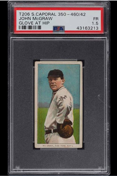 1909-11 T206 John McGraw GLOVE AT HIP, SC FACTORY 42 PSA 1.5-Rare Back