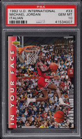 1992 Upper Deck International Italian Michael Jordan #33 PSA 10 Gem Mint
