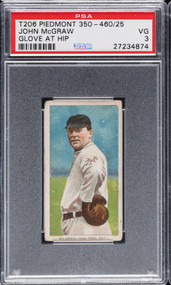1909 T206 Piedmont John McGraw Glove at Hip HOF PSA 3