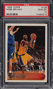 1996 Topps Basketball Kobe Bryant ROOKIE RC #138 HOF PSA 10 GEM MINT