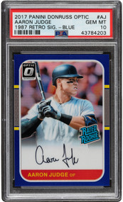 2017 Panini Donruss Optic Aaron Judge Rookie RC '87 Retro Signature-Blue PSA Gem Mint 10  #1/5