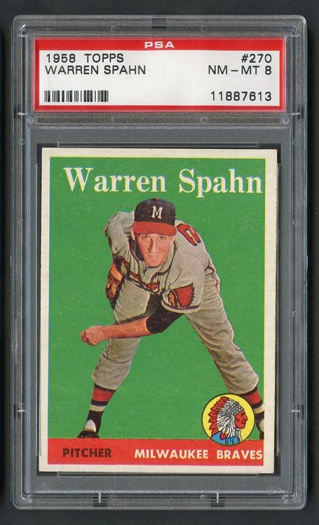 1958 Topps Warren Spahn #270 HOF PSA 8 Near Mint