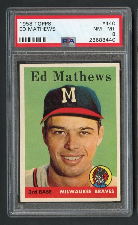 1958 Topps Ed Mathews #440 HOF PSA 8-Flawless Surface