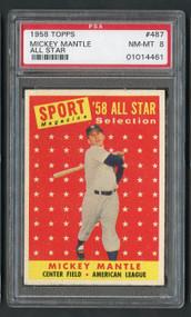 1958 Topps Mickey Mantle All-Star #487 HOF PSA 8 Near Mint