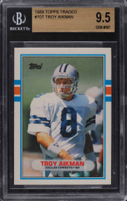 1989 Topps Traded Troy Aikman ROOKIE RC HOF #70T BGS 9.5 GEM MINT