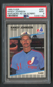 1989 Fleer Randy Johnson Rookie Error Marlboro Ad Visible PSA 9 Mint SP