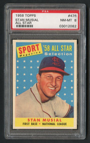 1958 Topps Stan Musial All-Star #476 HOF PSA 8-Centered & High-End