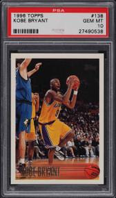 1996 Topps Kobe Bryant ROOKIE RC HOF #138 PSA 10 GEM MINT