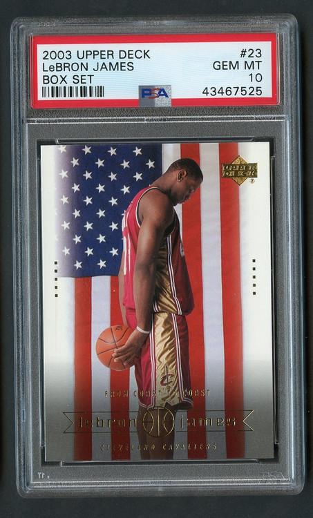 2003 Upper Deck Box Lebron James Rookie RC #23 PSA 10 Gem Mint-American Flag