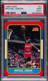 1986 Fleer Basketball Michael Jordan Rookie RC #57 PSA 9 (OC)-Mint