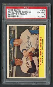 1958 Topps Rival Fence Willie Mays/D. Snider HOF #438 PSA 8