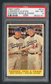 1958 Topps Dodgers B & P w/Duke Snider HOF #314 PSA 8-Centered