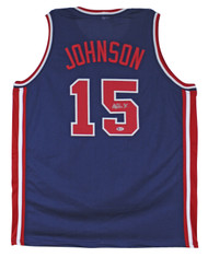 Lakers Magic Johnson Team USA Authentic Signed Blue Jersey BAS Witnessed-100% Authentic