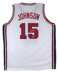 """Magic Johnson USA """"Dream Team"""" Authentic Signed/Auto White Jersey BAS Witnessed"""