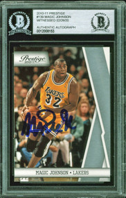 2010 Prestige Magic Johnson Auto HOF #139 BAS Authentic-Witnessed