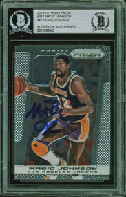 2013 Panini Prizm Magic Johnson Auto HOF #242 BAS Authentic-Witnessed