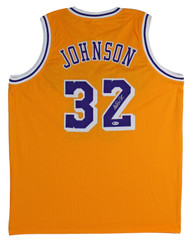 Magic Johnson Signed Yellow Jersey