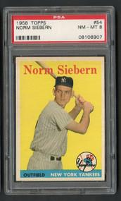 1958 Topps Norm Siebern #54 PSA 8 Near Mint