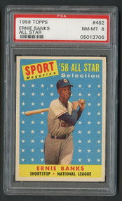 1958 Topps All Star Ernie Banks #482 HOF PSA 8 Near Mint-Centered