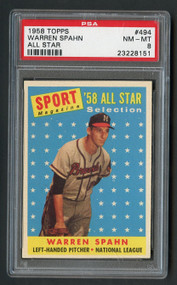 1958 Topps All-Star Warren Spahn #494 HOF PSA 8 Near Mint