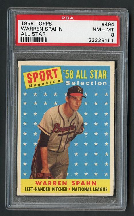 1958 Topps All-Star Warren Spahn #494 HOF PSA 8 Near Mint