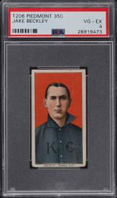 1909 T206 Piedmont Jake Beckley HOF PSA 4-Centered