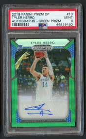 2019 Prizm DP Green Tyler Herro Rookie RC Auto #13 PSA 9 Mint