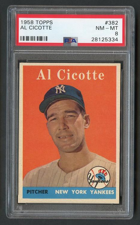 1958 Topps Al Cicotte #382 PSA 8 Near Mint-Centered
