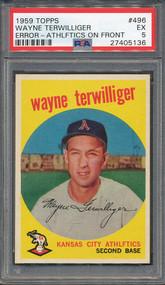 "1959 Topps #496 Wayne Terwilliger Error ""Athlftics"""" Error PSA 5"