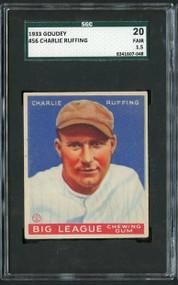 1933 Goudey #56 Charlie Ruffing HOF SGC 20/1.5