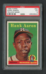 1958 Topps #30 Hank Aaron Yellow Name Variation-PSA 5