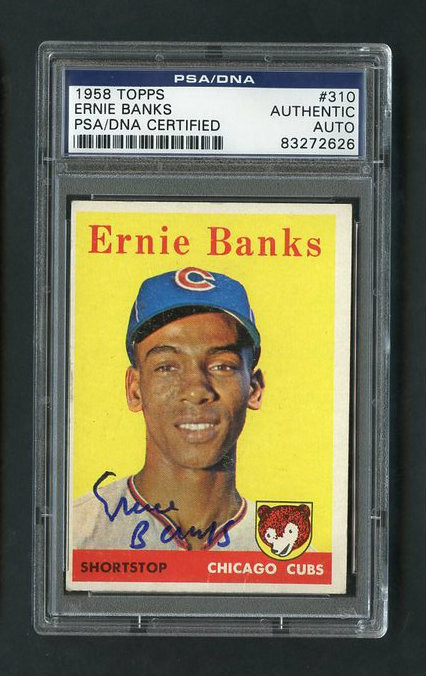 Ernie Banks Vintage Autographed Baseball Card.