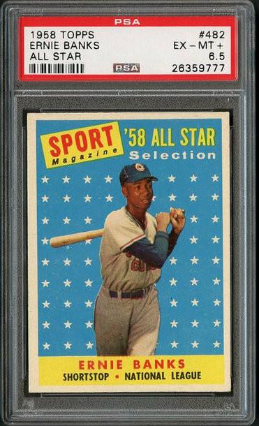 1958 Topps #482 Ernie Banks All-Star HOF - PSA 6.5 - Centered